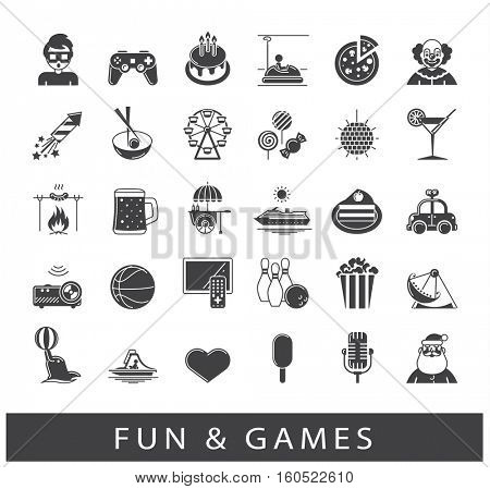 Set of premium quality fun and games icons. Collection of vector icons for games, fun, leisure, sport, hobby, free time. Info graphics elements collection. Web graphics.