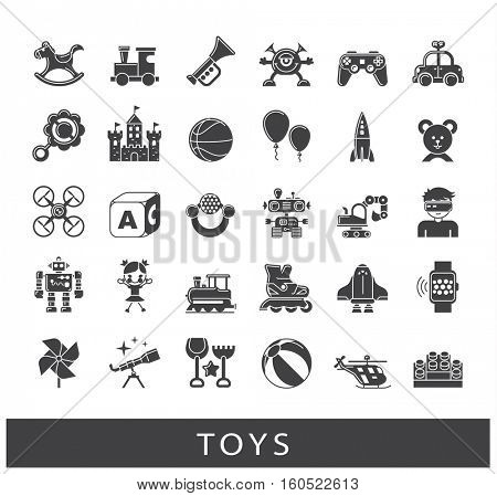 Set of premium quality toy icons. Play and games icons. Collection of toys for children. Childhood fun vector illustration.
