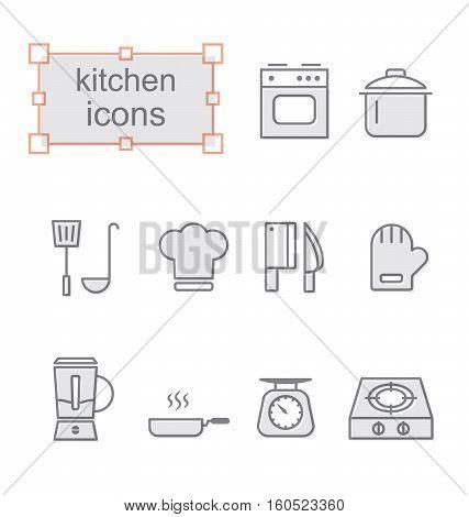 Thin line icons set Linear symbols set Kitchen