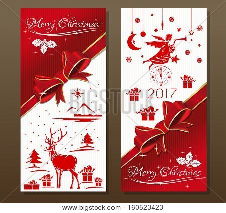 Merry Christmas 2017.  Vintage greeting Christmas card with reindeer, Christmas angel, antique clock, winter forest, red ribbon and bow. Vector flyer template