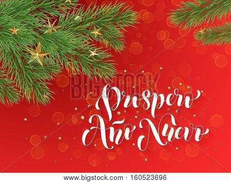Prospero Ano Nuevo Spanish Merry Christmas text greeting calligraphy lettering. Decorative red background with golden Christmas ornament.