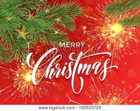 Merry Christmas lettering on decorative red background with golden sparklers, firework sparks. Sparkling Christmas ornament decorations of gold stars balls and Christmas tree branches.