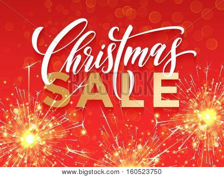 Christmas Sale promotion offer poster, banner, placard. Decorative red background with sparkling golden sparklers, firework sparks glitter and gold calligraphy lettering on red background