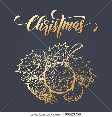 Holly wreath of christmas ball, gifts, candy, fruits. Merry Christmas greeting card with gold glitter foil gilding on black background