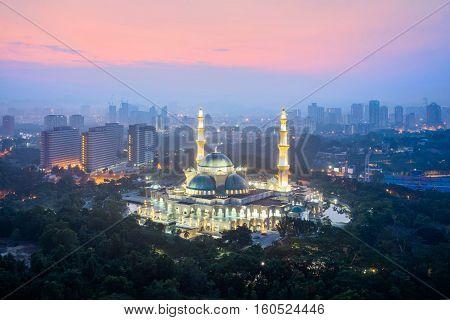 Masjid Wilayah Persekutuan with Kuala Lumpur city in background Kuala Lumpur Malaysia