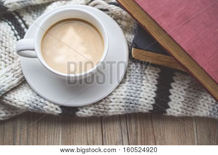 Christmas tree in Coffee Cup with Book and on The Scraf in Vintage Tone
