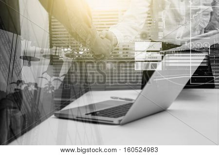 Double Exposure Of Businessman And Businesswoman Handshake After Successful On Target Development Pr