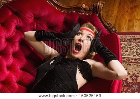 Elegant Frightened Woman In Retro Style Screaming In Horror