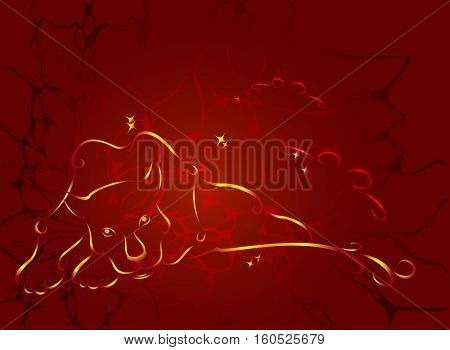 Pattern in the form of fiery panther with stars on the background of the web. EPS10 vector illustration