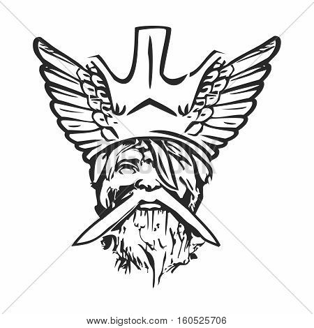 Vector Old Norse God Decal, Decal Face Outline of Almighty Odin, isolated on white background