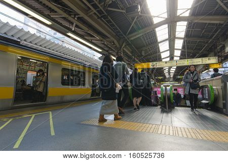 Tokyo ,Japan - November 18 2016 :Shinjuku train station.Shinjuku is one of the important district with one of the biggest train station in Japan.