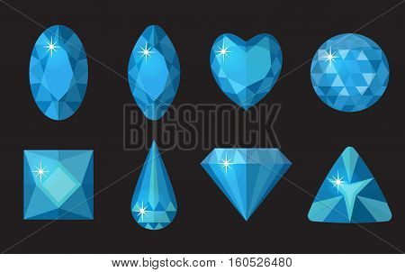 Blue gems set. Jewelry, crystals collection isolated on black background. Blue diamonds of different shapes, cut. Colorful blue gemstones. Realistic, cartoon style. Vector illustration, clip art