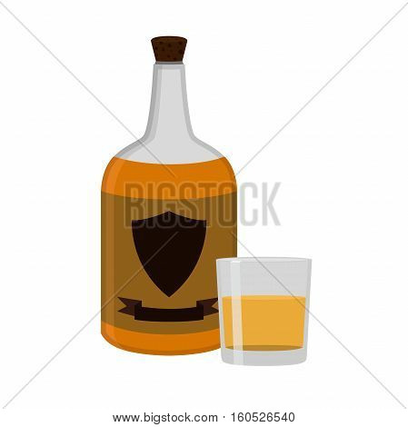 Rum bottle with glass shot. Alcohol drink flat style design. Vector illustration. Rum whiskey brandy liquor for pubs restaurants hipster bars