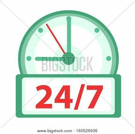 24 7 Clock icon, flat design. Watches 24h, 7 days a week isolated on white background. Vector illustration, clip art