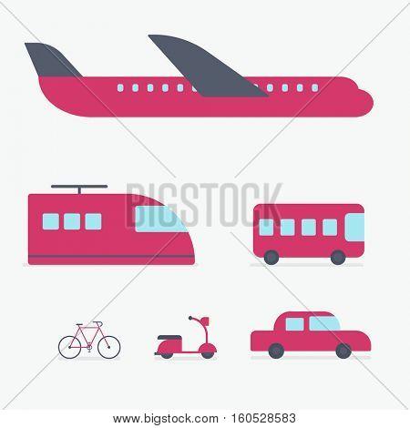 flat urban transport icon set