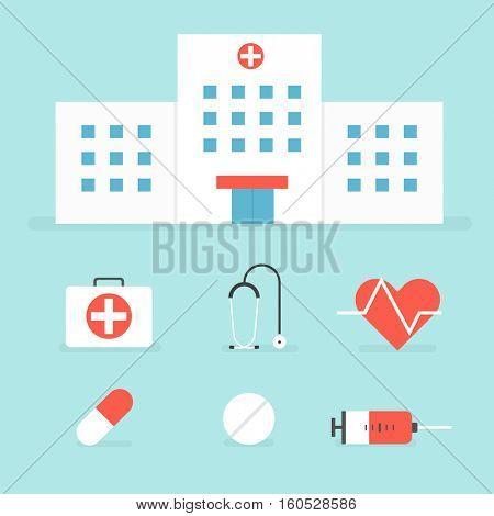 Hospital building. Set of medical icons