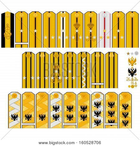Insignia naval crews and command of His Imperial Majesty in Russia. The illustration on a white background.