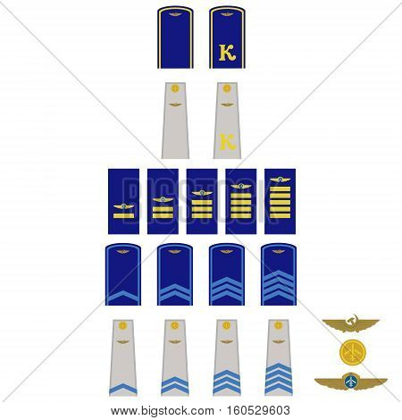 Insignia in the Russian civil aviation. The illustration on a white background.