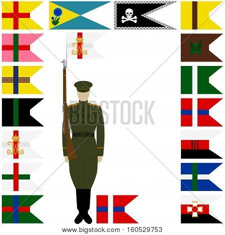 The infantry engineering and special units existed linear icons one for each company and individual - on the battalion. The illustration on a white background.