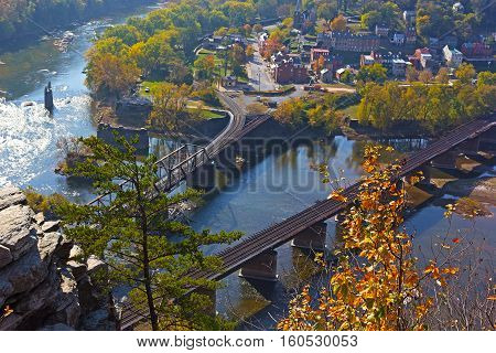 A view on Harpers Ferry town from the outlook in autumn. Aerial view of the point where Potomac and Shenandoah rivers meet each other.