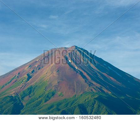 Mount Fuji Detail Morning Dirt Volcanic Cone