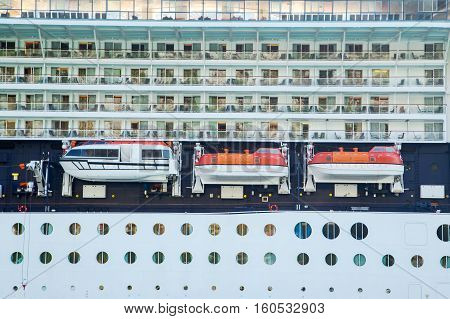 Three lifeboats on the cruise liner ship