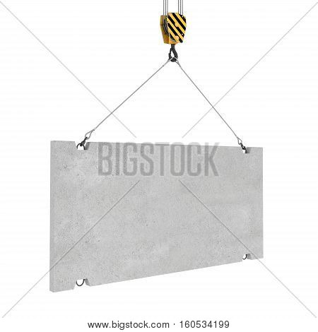 3d rendering of concrete slab hanging on a hook with two ropes isolated on the white background. Building industry. Building materials. Materials transportation.