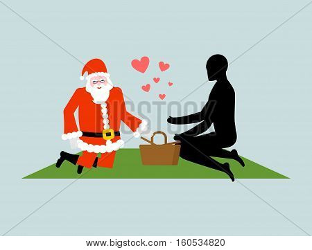 Christmas Lover. Santa Claus On Picnic. Rendezvous In Park. Meal In Nature. Plaid And Basket For Foo