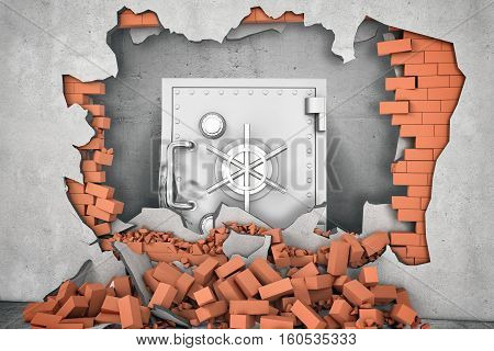 3d rendering of metal damaged safety box standing near the hole in the wall with a pile of red bricks are lying beneath in a stack. Investor protection issues. Bank robbery. Collapse of walls.