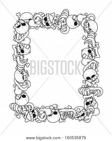 Frame Of Bones. Anatomy Background. Skeleton Template. Skull And Spine. Jaw And Pelvis