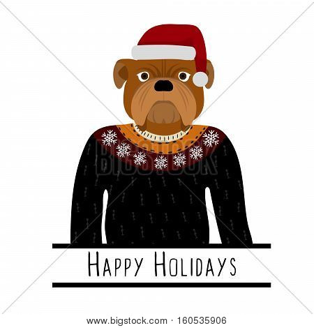 Greeting background with English Bulldog. A dog with a hat of Santa Claus. Flat design. Pet. Cute doggie. Cartoon character. Animal. Vector illustration eps10