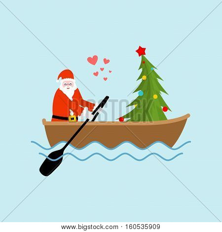 Santa Claus And Christmas Tree On Boat Ride. Christmas Riding On Ondola On Lake. Old Man In Red Suit