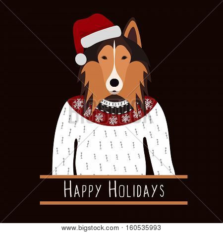 Greeting background with Rough Collie. A dog with a hat of Santa Claus. Flat design. Pet. Cute doggie. Cartoon character. Animal. Vector illustration eps10