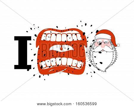 I Hate Santa. Shout Symbol Of Hatred Face Santa Claus. Aggressive Open Mouth. Yelling And Cursing