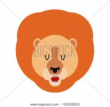 Lion Muzzle Isolated. Leo Face. Savannah Wild Animal With Mane. Predator Africa. Head Of Beast. King