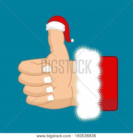 Like Santa. Thumb Up. Symbol All Right. Success Gesture. Red Christmas Hat