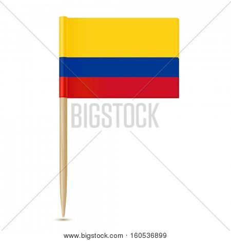 Colombia flag toothpick on white background 10eps