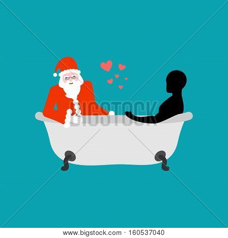 Christmas Lover. Santa Claus In Bath. Joint Bathing. Passion Feelings Among Lovers. Romantic New Yea