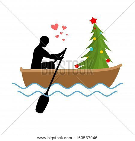 Christmas Lover. Man And Christmas Tree Ride In Boat. Lovers Of Sailing. Man Rolls Gondola. Rendezvo