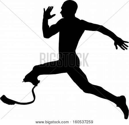 athlete disabled amputee explosive running Illustrator vector