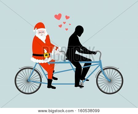 Christmas Lover. Santa Claus On Bicycle. Lovers Of Cycling. Man Rolls Santa On Tandem. Joint Walk On