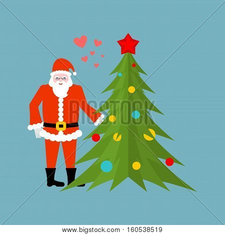 Santa Claus And Christmas Tree Holding Hands. Christmas Date. Old Man In Red Suit And Fur-tree New Y