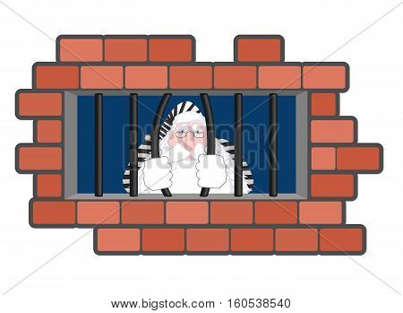 Santa Claus Jail. Window In Prison With Bars. Bad Santa Criminal. New Year Is Canceled. Christmas Pr