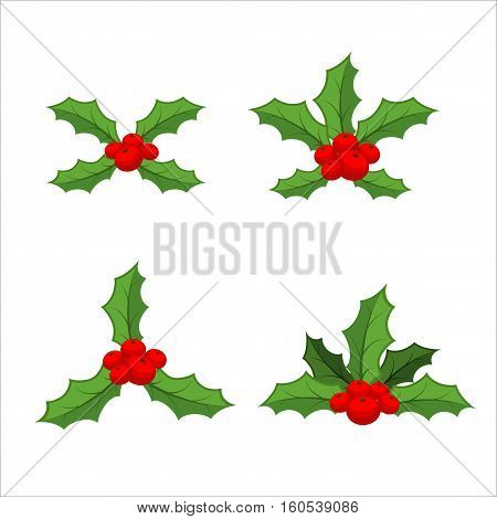 Sprig Of Mistletoe Set. Traditional Christmas Plant. Holiday Red Berry With Green Leaves. Decorating