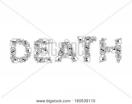 Death Typography. Letters From Bones. Anatomy Lettering. Skull And Spine. Jaw And Pelvis