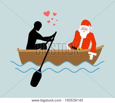 Christmas Lover. Man And Santa Claus And Ride In Boat. Lovers Of Sailing. Man Rolls Santa Gondola. R