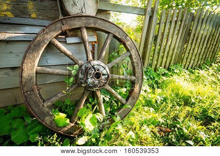 Forgotten old wooden wheel on green grass near the house