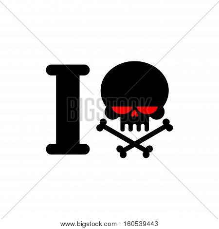 I Hate Template. Skull And Bones Symbol Of Hatred. Aggression Sign Of Bully