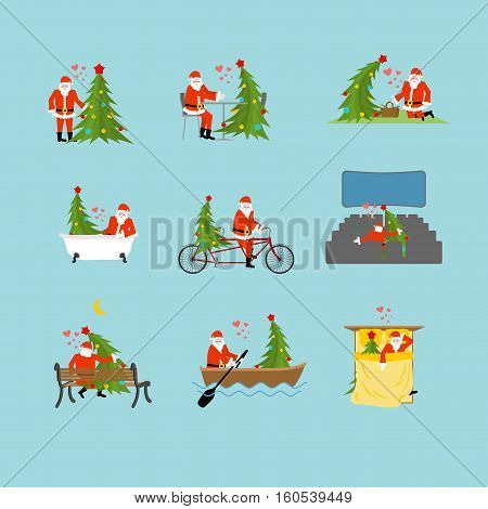 Santa Claus And Christmas Tree Collection. Loverr Christmas Set. Santa And Fir In Cinema. Lovers In