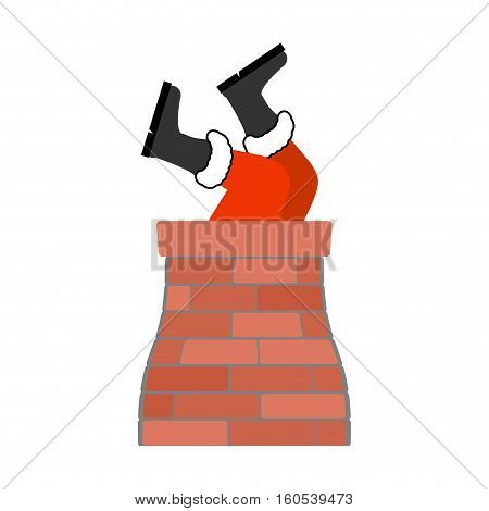 Santa Claus Stuck Isolated. Legs Santa Sticking Out In Chimney. Christmas Tradition. New Year Templa